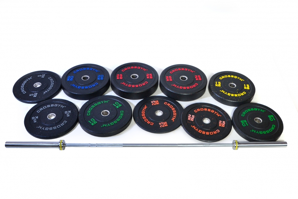 Kotouč Bumper Plate CrossGym - 15 kg (černý)