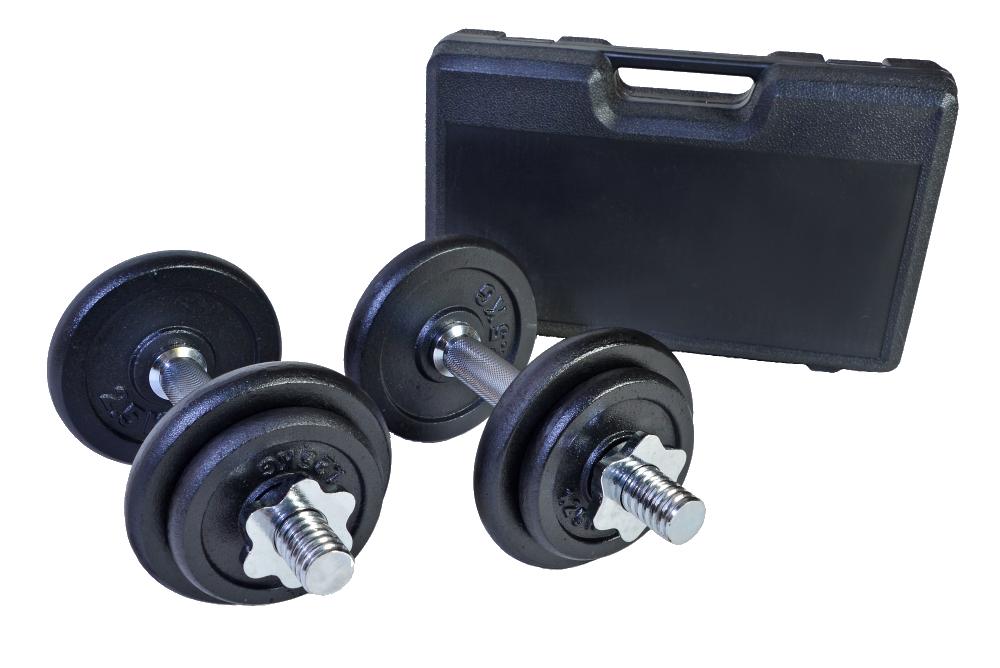Jednoruční nakládací činkový set v kufříku - 2 x 10 kg
