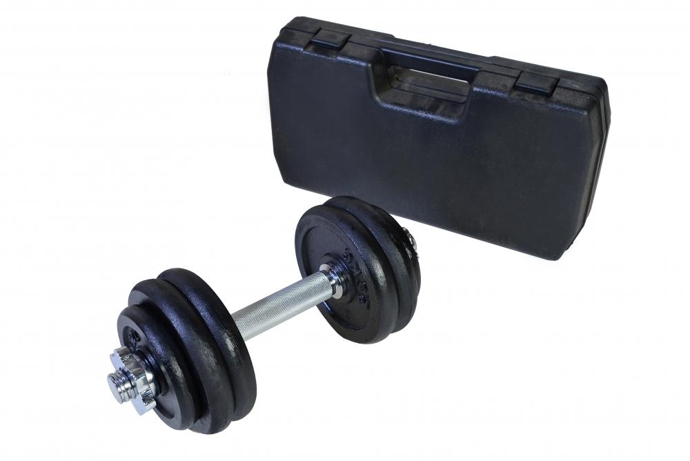Jednoruční činka nakládací v kufříku - 15 kg