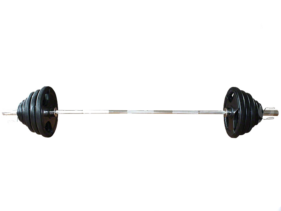 Olympijská činka s pogumovanými kotouči - 110 kg