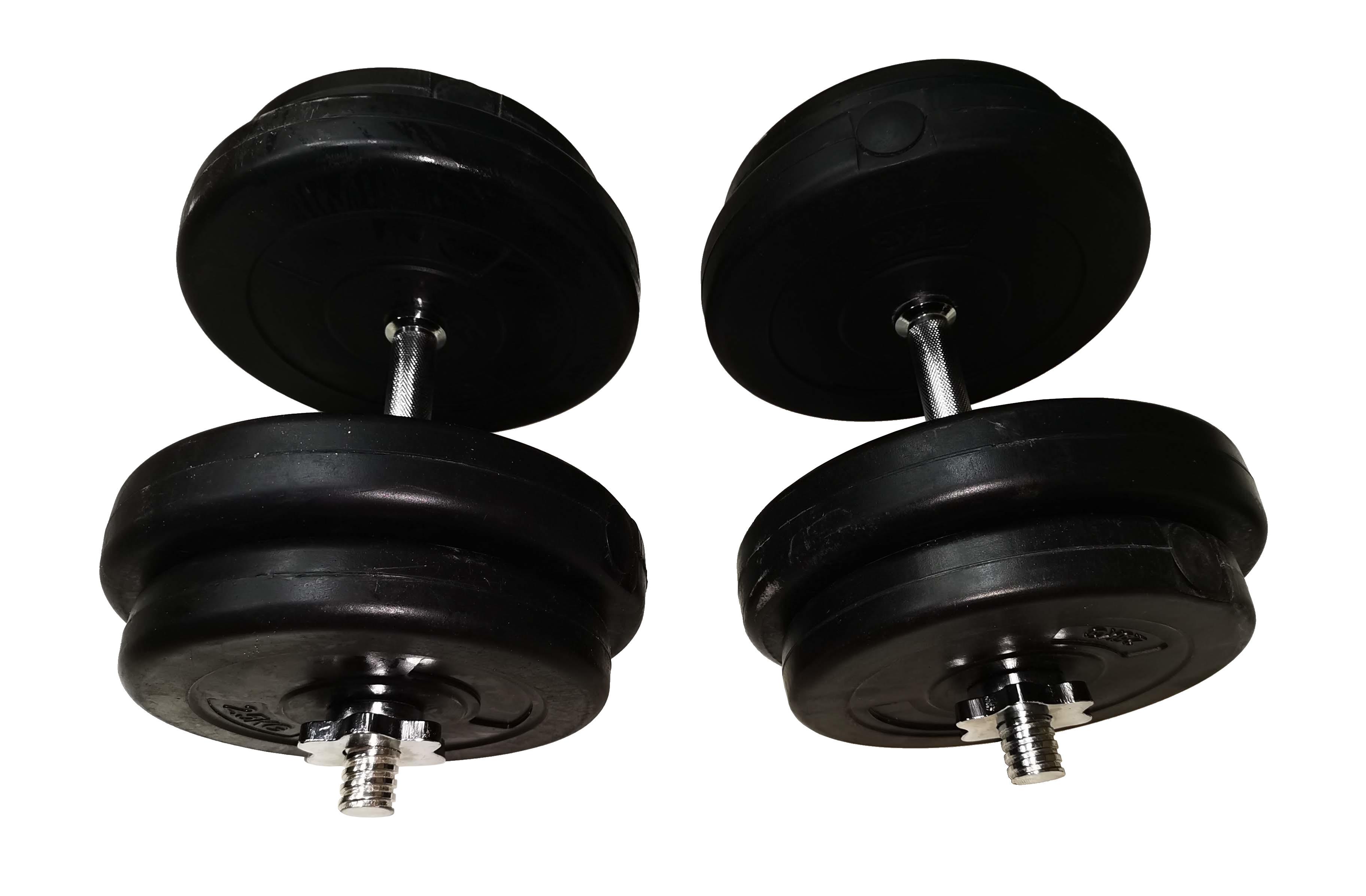 Jednoruční nakládací činkový set (kotouče s cementovou náplní) - 2 x 17 kg